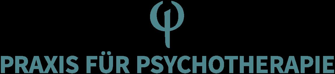 """Petrolfarbenes Logo mit Psy-Zeichen und dem Schriftzug """"Praxis für Psychotherapie""""."""